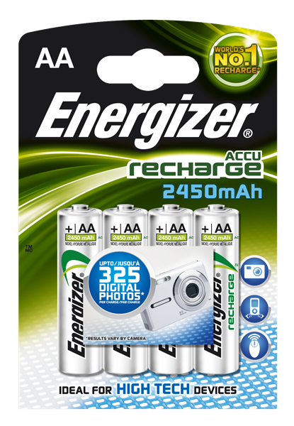 Energizer AA rechargeable batteries 2450mAh, Pack of 4