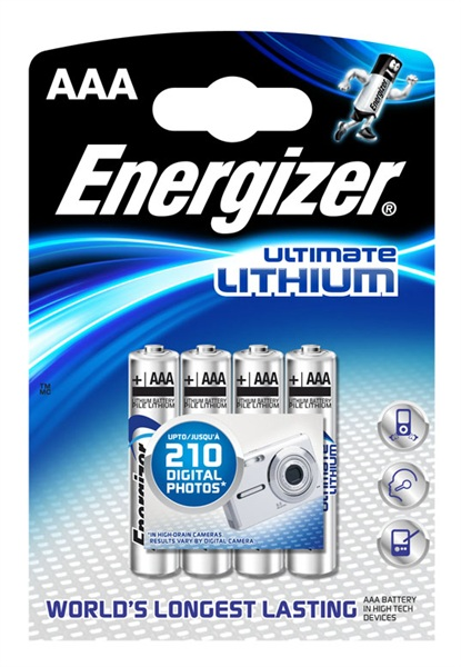 Energizer Ultimate Lithium AAA batteries, Pack of 4